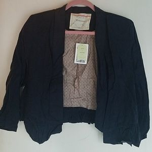 NWT Anthropology Navy Blue Fitted Blazer Sz S